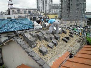 東京都葛飾区 M様邸 和瓦からコロニアル葺きへ 屋根葺き替え工事 施工中11