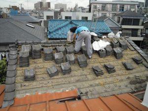 東京都葛飾区 M様邸 和瓦からコロニアル葺きへ 屋根葺き替え工事 施工中12