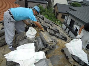 東京都葛飾区 M様邸 和瓦からコロニアル葺きへ 屋根葺き替え工事 施工中13