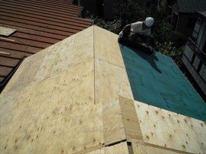 東京都葛飾区 M様邸 和瓦からコロニアル葺きへ 屋根葺き替え工事 施工中30