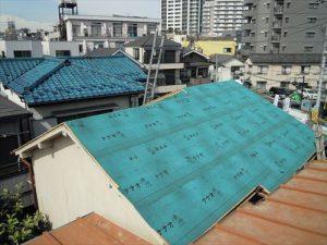 東京都葛飾区 M様邸 和瓦からコロニアル葺きへ 屋根葺き替え工事 施工中33