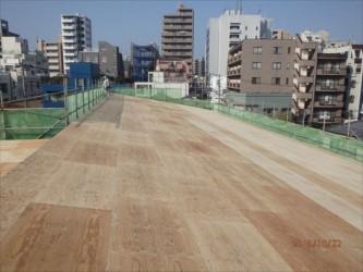 東京都北区赤羽 保育園 新築ガルバリウム鋼板屋根タテ平葺き工事 野地板(下地)