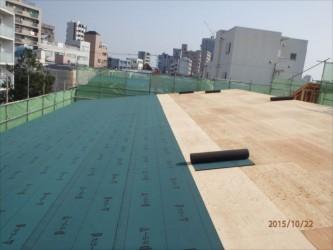 東京都北区赤羽 保育園 新築ガルバリウム鋼板屋根タテ平葺き工事 ルーフィング下葺き